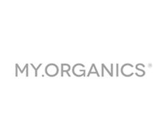 Logotip my organics. Perruqueria natural vic nous aires